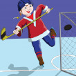 Stock Photo: Boy ice hockey player scored a goal against