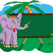 Stock Vector: Elephant in school shows pointer on school board