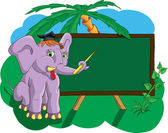 Elephant in the school shows pointer on school board — Stock Vector