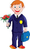 Schoolboy with a bouquet of flowers and a portfolio goes to school — Stock Vector