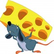 Stock Vector: Mouse is on his back piece of cheese