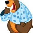 Stock Vector: Bear in pajamas covers mouth with his paw