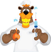 Bear cheerful doctor with an enema and syringe — Stock Vector