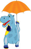 Hilarious hippo comes with an umbrella in his hand — Stock Vector