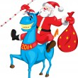 Stock Vector: SantClaus with bag on blue horse