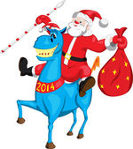 Santa Claus with a bag on a blue horse — Stock Vector