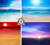 Vector. Summer Designs set. Blur Beach Background. — Vector de stock