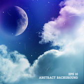 Vector design. Sky with moon and clouds at the Background — Stockvector