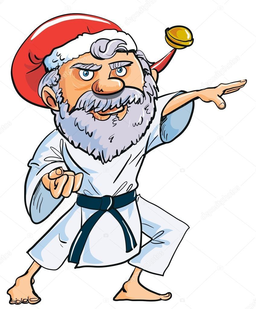 Cartone animato karate babbo natale — vettoriali stock