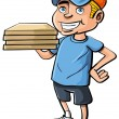 Stock Vector: Cartoon pizza delivery boy
