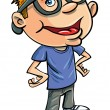 Stereotypical cartoon nerd - Stock Vector
