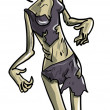 Skeletal female zombie — Stockvectorbeeld