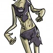Stockvector : Skeletal female zombie
