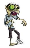 Cartoon illustration of green zombie — Stock Vector