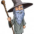 Friendly cartoon Wizard with staff — Stock Vector