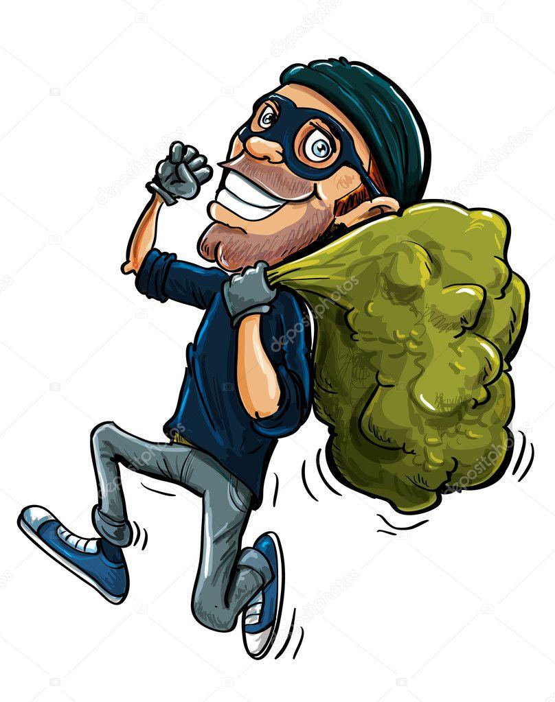 Cartoon Thief Running Cartoon Thief Running With a