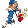 Royalty-Free Stock Imagen vectorial: Cartoon postman running