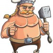 Stock Vector: Viking cartoon with a big hammer