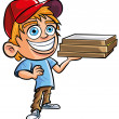 Cartoon of cute Pizza delivery boy - Stock Vector