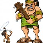 Постер, плакат: Cartoon David and Goliath