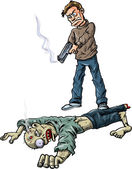 A survivor has killed a zombie — Stock Vector