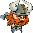 Cute cartoon viking with horny helmet — Stock Vector