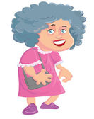 Cartoon old lady with a handbag — Stock Vector