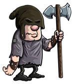 Cartoon executioner with a big axe — Stock Vector