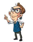 Cartoon nerd looking intelligent — Stock Vector