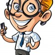 Cute cartoon nerd with mobile phone — Vetor de Stock  #30598913