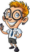 Cute cartoon nerd with mobile phone — Stock Vector