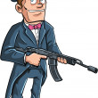 Cartoon Groom with a machine gun — Stock vektor