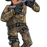Cartoon soldier with a shotgun — Stock Vector