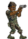 Cartoon soldier with a hand gun — Stock Vector