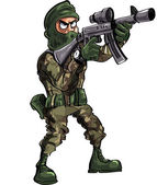 Cartoon soldier with gun and balaclava — Vetorial Stock