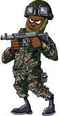Black cartoon soldier with gun — Stock Vector