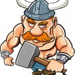 Cartoon viking with a big hammer — Stock Vector
