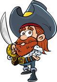 Cute cartoon pirate with a cutlass — Stock Vector