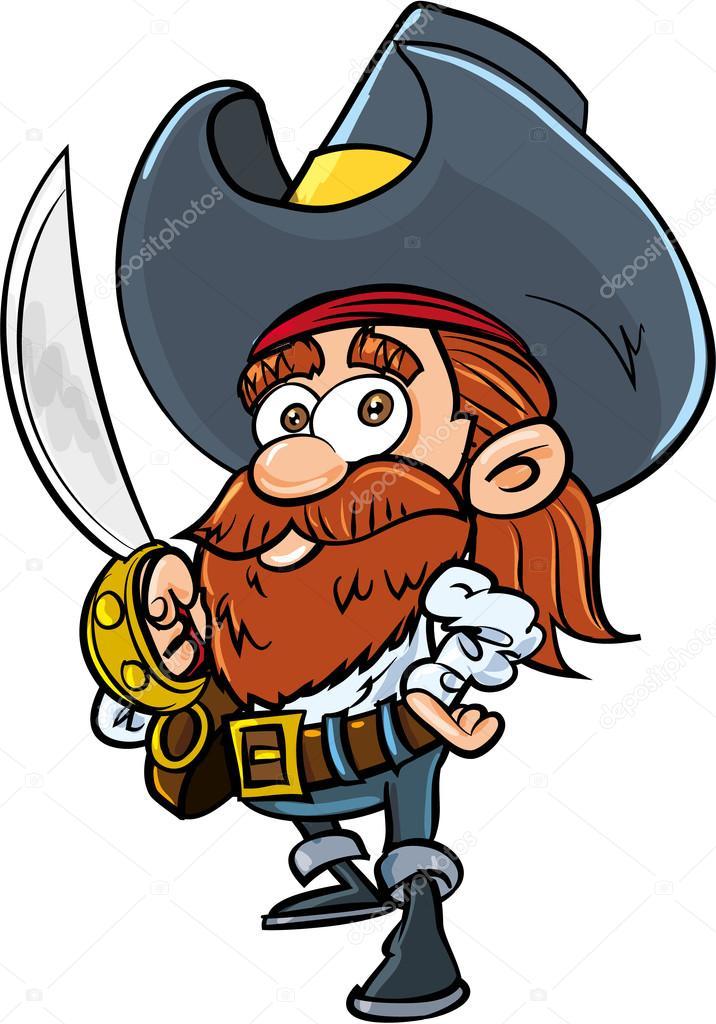 Pirata simpatico cartone animato con una sciabola
