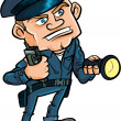 Stock Vector: Cartoon security guard with flashlight