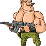 Cartoon muscle soldier with big machine gun — Stock Vector