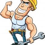 Cartoon handyman flexing his muscles — Stock Vector #38807513