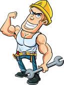 Cartoon handyman flexing his muscles — Stock Vector