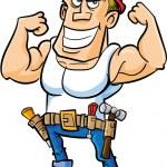 Cartoon worker flexing his muscles — Stock Vector #39798693