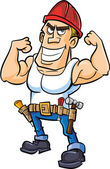 Cartoon worker flexing his muscles — Stock Vector