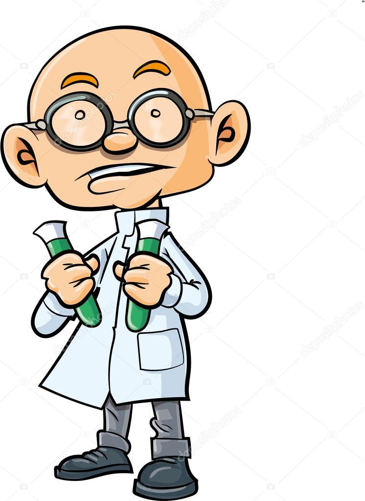 Scienziato calvo cartone animato con due provette