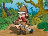 Cartoon big game hunter — Stock Vector