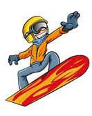 Cartoon snowboarder flying through the air — Stock Vector