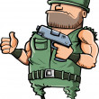 Stok Vektör: Cartoon soldier giving thumbs up