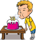 Cartoon little boy blowing out candles — Stock Vector